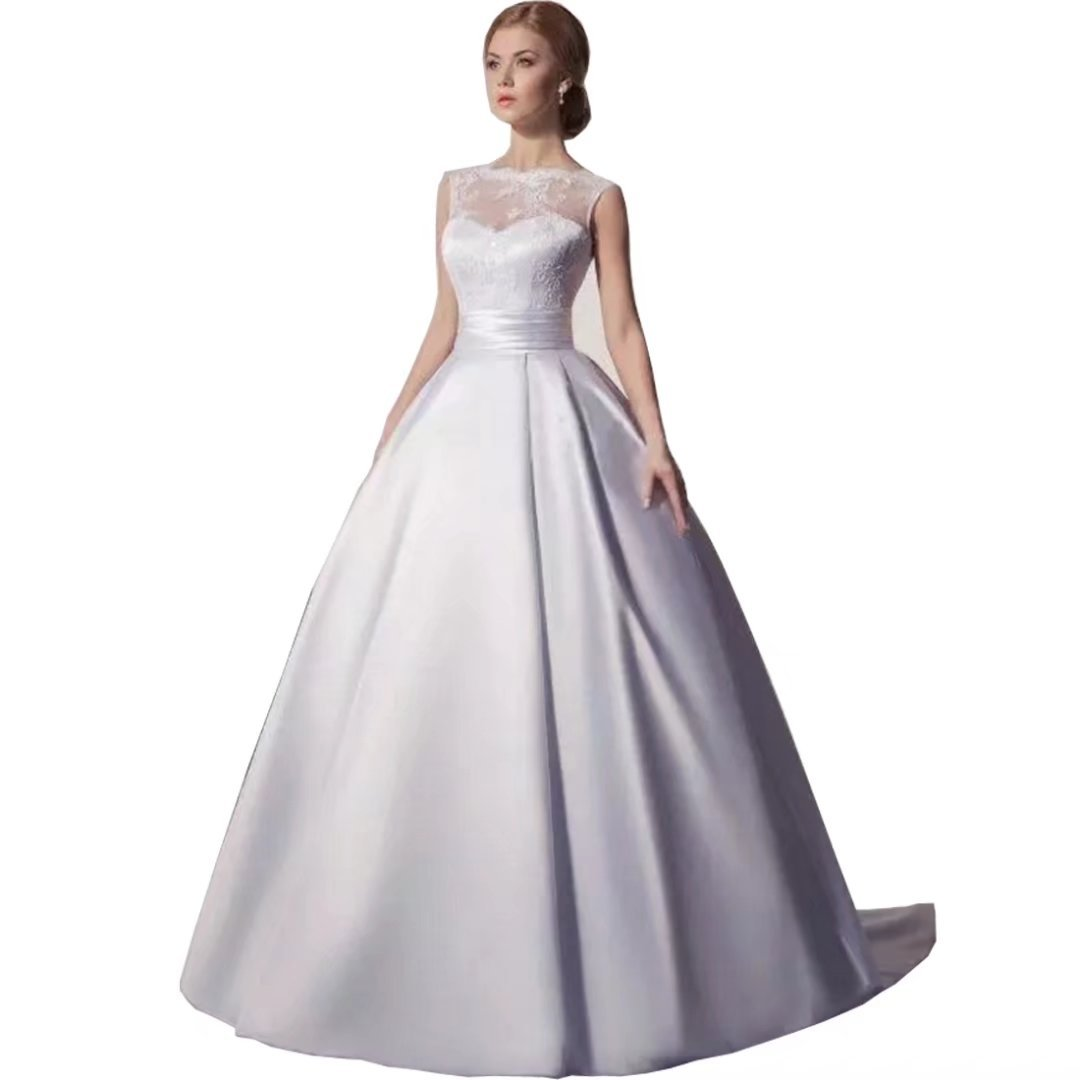 Dingdingmail Satin Wedding Dresses For Bride Ball Gown Backless