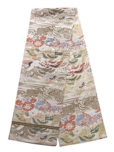 荷物日帰り旅行に受賞アンティーク 丸帯 飛鶴に四季花 御所解文 人絹