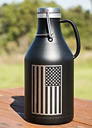 Beer Growler 64 oz Vacuum Insulated Stainless Steel BPA Free Decorated w/ the American Flag