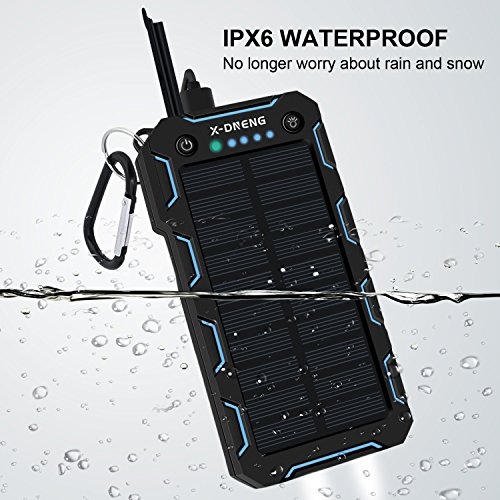 X-DNENG Solar Charger, 15000mAh Solar Power Bank,2.4A Output 2-Port External Battery Charger Cellphone Charger with Powerful LED Lights Waterproof for iPhone,Samsung,Tablets and More USB Devices by X-DNENG (Image #1)