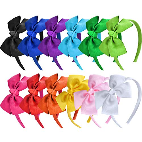 SIQUK 12 Pieces Bow Headband Grosgrain Ribbon Headbands with Bows for Girls, 12 Colors(Bonus: 1 Pc Storage -