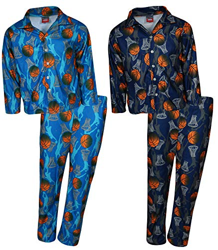 'Mac Henry Boys Plaid Flannel Pajama Sleepwear Sets (2 Full Sets) (8-10, Basketball)'