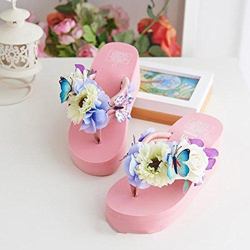 Scothen Mensaje del dedo del pie sandalias para la flor de zapatos de playa tirón de las mujeres fracasos zapatillas sandalias de deslizamiento de vacaciones de verano sandalias romanas sandalias E