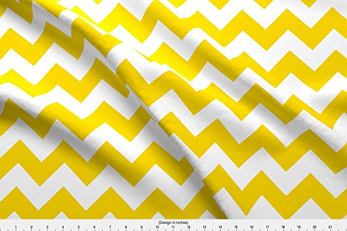 Chevron Fabric Chevrons Yellow And White by Juliesfabrics Printed on Minky Fabric by the Yard by Spoonflower (Upholstery By Yard The Fabric Chevron)