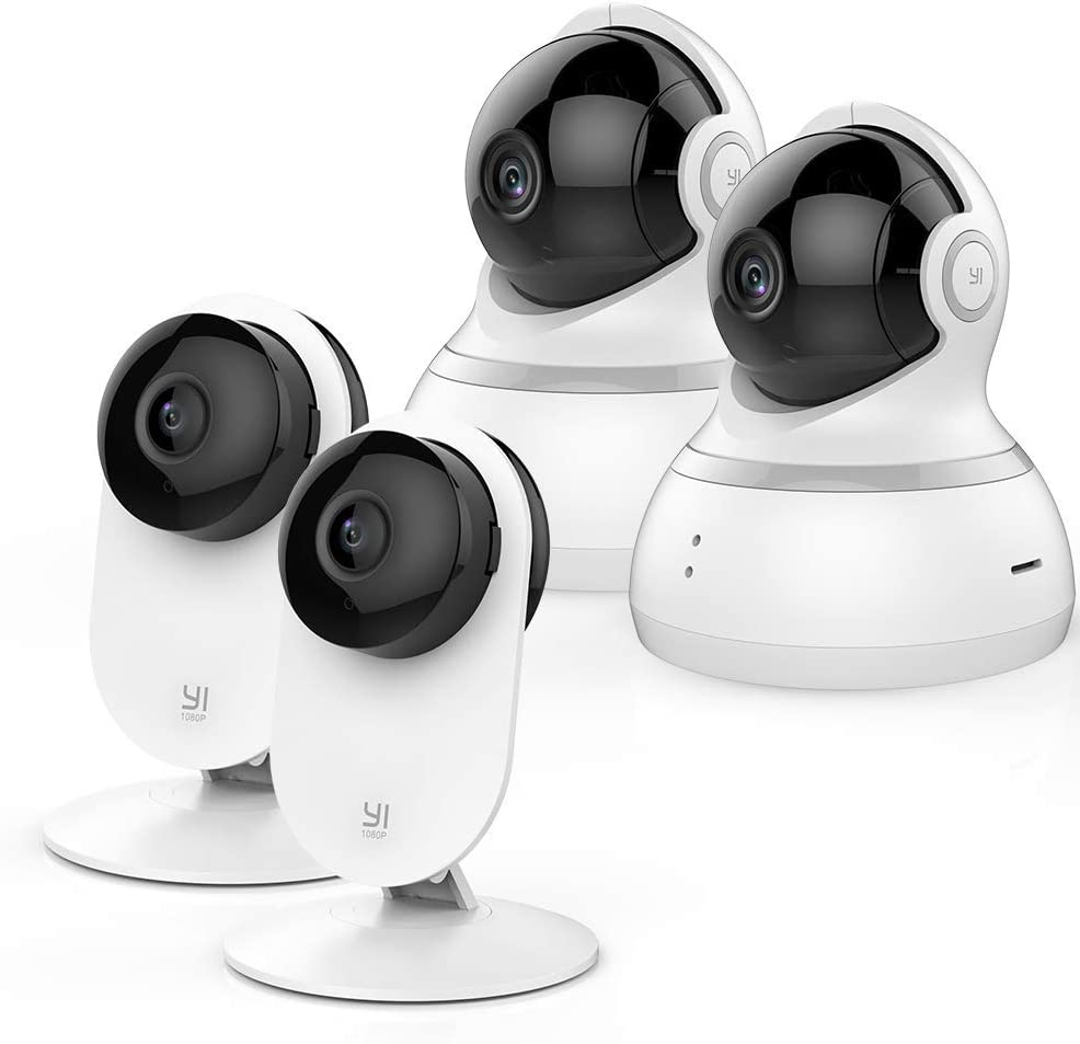 YI AI-Powered Indoor Security Camera Bundle Set, 2.4G Wi-Fi Smart Home Surveillance System with Human Detection, App - 1080P Home Camera 2pc and Dome Camera 2pc