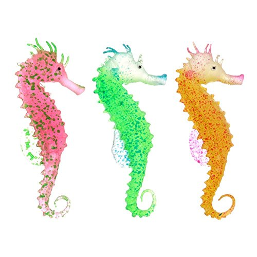 The Artificial Jellyfish Ornament | Small 3pcs Generic Glowing Effect Realistic Artificial Silicone Sea Horse | Easy Installation Eco-Friendly Fish Tank Ornament | Green Yellow Red | 97.6