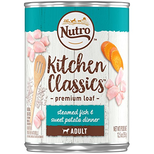 Nutro Adult KITCHEN CLASSICS Steamed Fish & Sweet Potato Dinner Premium Loaf Canned Dog Food 12.5 Ounces (Pack of 12)