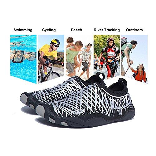 Mutifunctional Barfuß Wasser Schuhe, Leichtgewicht Quick-dry Sport Aqua Fahrübung Strand Schwimmbad Surf Bootfahren Walking Garten Park Schuhe für Männer Frauen Junge, Gummisohle mit Drainage-Loch Weiß