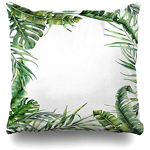 Throw Pillow Cover Cushion Case Plant Banana Watercolor Tropical Exotic Leaves Hand Eucalyptus Nature Green Botanical Branch Coconut Palm Drawn Design Home Decor Square 18x18 Inches