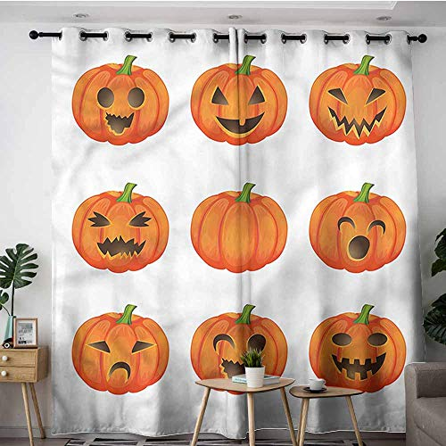 (XXANS Thermal Insulated Blackout Curtains,Pumpkin,Happy Sad Jack o Lanterns,Energy Efficient, Room Darkening,W84x108L)