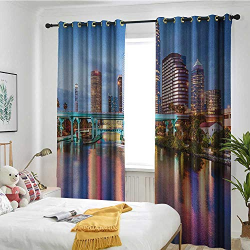 Bedroom Curtains Curtain 2 Panel Combination Set City,Hillsborough River Tampa Florida USA Downtown Idyllic Evening at Business District Multicolor -