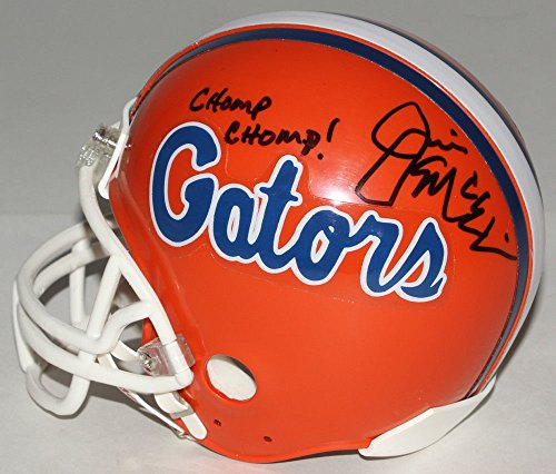 Autographed Jim Mcelwain Signed Florida Gators Mini-Helmet Inscribed Chomp Chomp/ - Beckett Certified
