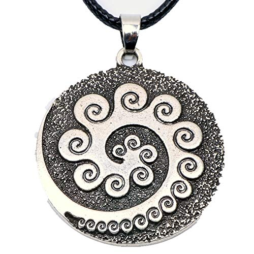 Gimax Aboriginal Koru Necklace Pendant Maori Twist Symbol Mask Manaia Tribal New Zealand Gift for Men Women Travel Souvenir - (Metal Color: Antique Silver Plated)