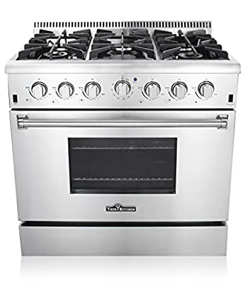 """Thor Kitchen 36"""" Freestanding Professional Style Gas Range with 5.2 Cu. Ft. Oven, 6 Burners, Convection Fan, Cast Iron Grates, & Blue Porcelain Oven Interior, In Stainless Steel"""