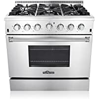Thor Kitchen 36' Freestanding Professional Style Gas Range with 5.2 Cu. Ft. Oven, 6 Burners, Convection Fan, Cast Iron Grates, & Blue Porcelain Oven Interior, In Stainless Steel