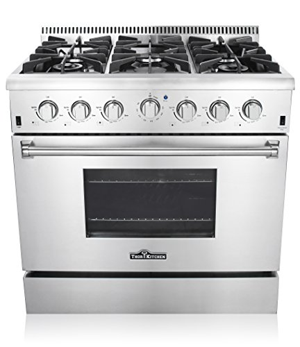 "Price comparison product image Thor Kitchen 36"" Freestanding Professional Style Gas Range with 5.2 Cu. Ft. Oven, 6 Burners, Convection Fan, Cast Iron Grates, & Blue Porcelain Oven Interior, In Stainless Steel"