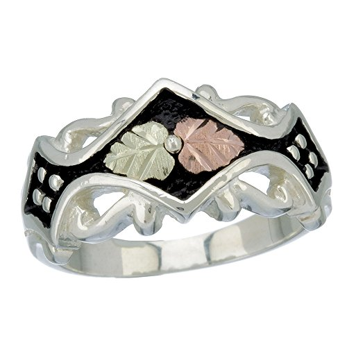(Black Hills Silver Antiqued Ring with 12k Leaf Accents)