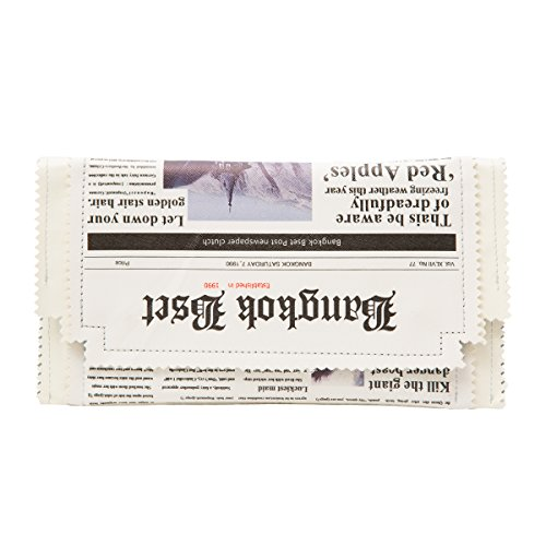 Leather Newspaper Clutch Party Purse Chain shoulder Bag IT Bag (Newspaper Leather)