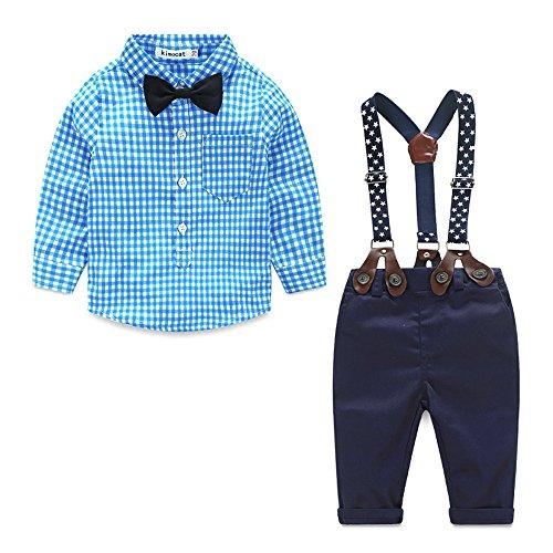 Winsummer 3Pcs Baby Boys Gentleman Bowtie Plaid Shirt and Bib Pants Outfits Suspender Trousers Overalls (Blue, ()