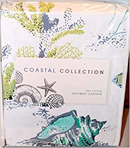 Coastal Collection Fabric Shower Curtain Under The Sea Life White Blue Gray  Green