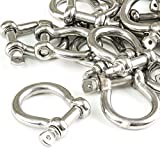 Red Hound Auto 25 Stainless Steel 5/16 Inch 7.9mm Anchor Shackle Bow Pin Chain Ring 1400 Pound