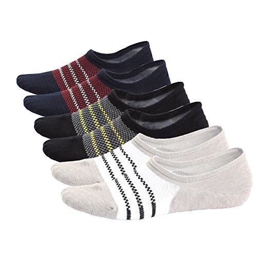 Mens Cotton No Show Socks Thin Low Cut Non Slip with Heel Grip, Pack of 6, - Shoes Van Noten Dries Men