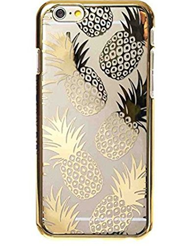 iPhone Cover , Colorful Rubber Flexible Silicone Case Bumper for Apple Clear Cover - Gold Shiny Pineapples Summer Happiness ( iPhone 8 Plus / 7 Plus (Summer Case)
