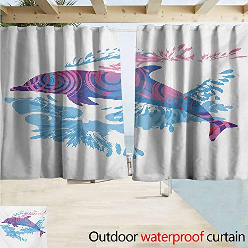 Zmcongz Animals Outdoor Curtain Dolphin Figure with Colorful Patterns Underwater Sea Life Illustration Waterproof Patio Door Panel W72 xL72 Blue Purple Pink