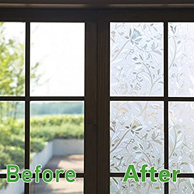 Bloss Privacy Window Film Static Cling Glass Film Non Adhesive Window Covering for Home Office