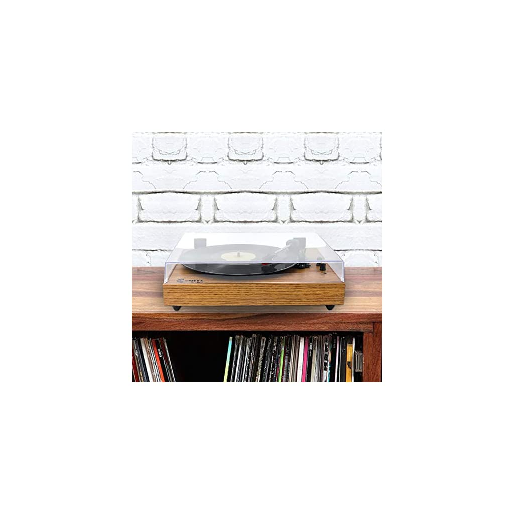 VMO Retro Record Player for 33/45/78 RPM Vinyl Records,Bluetooth Belt-Drive Turntable with Built-in Hi-Fi Stereo Speakers from the Bottom