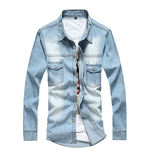pusheng Herren Lässiges Jeanshemd Wash Slim Fit Shirts Gr. XL, Blau - Hellblau