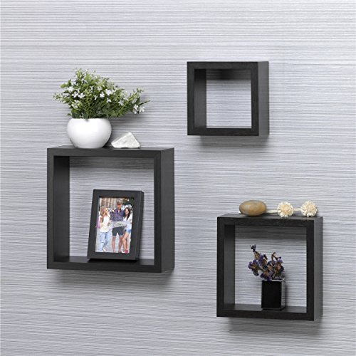 O&K Furniture 3-Piece Black Oak Floating Wall Shelves, 5.9 Inch, 7.8 Inch, 9.84 Inch