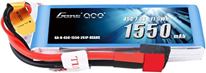 Gens ace 7.4V 1300mAh 2S 25C//50C LiPo Battery Pack with Deans Plug for RC FPV
