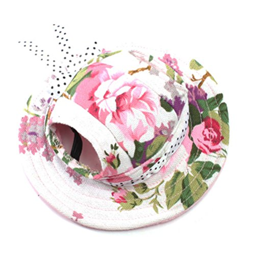 WINOMO Round Brim Pet Cap Visor Hat Pet Dog Mesh Porous Sun Cap with Ear Holes for Small Dogs - Size S (Floral Print) - Puppy Cap