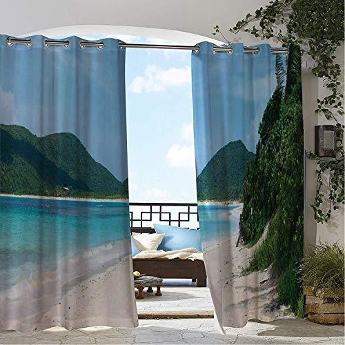 Waterproof Curtains Puerto Rico Flamenco Beach on The Island of Culebra Summer Season Wanderlust Getaway Theme Multicolor doorways Grommet Privacy Curtains 96 by 84 inch ()