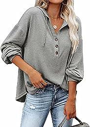 REVETRO Women's V Neck Long Sleeve Button Down Sweatshirts Hoodies Hooded Knit Henley Shirts Tunic Tops wi