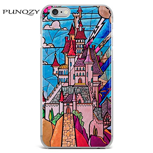 Mosaic Blue Sleeping Beauty Castle iPhone 7 Plus Case Snow White Fortress 8 Plus Cover Fairy Tale Childrens Animated Enchanted Fantasy Cartoon Kid Themed Movie Rose Pink Red Grey Seven Dwarfs 7, TPU -