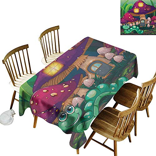 Family Rectangular Tablecloth W54 x L90 Mushroom Illustration of a Long Worm Near Mushroom Houses Fictional Cute Little Creatures Multicolor Great for Party & More