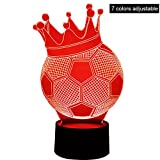 Zoylink Table Lamp Illusion Light 3D 5W Football Shape Color Changing Touch Visual Lamp LED Night Light for Parties