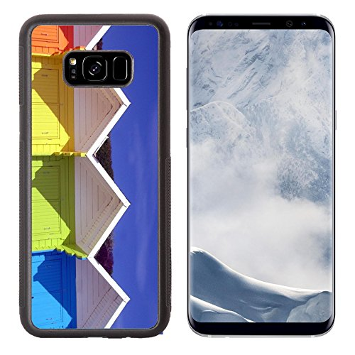 Liili Premium Samsung Galaxy S8 Plus Aluminum Backplate Bumper Snap Case IMAGE ID: 5979034 Low angle view of colorful wooden beach chalets in seaside resort of Scarborough North - Huts Cheap