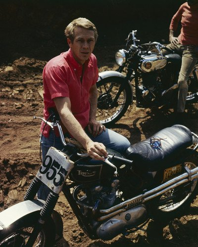 Steve McQueen Iconic image with Triumph motorcycle racing 11x14 Promotional Photograph
