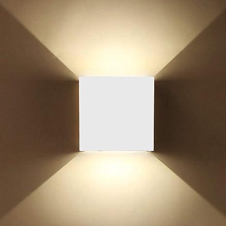 8W Applique Murale LED Intérieur Extérieur Dimmable Lampe Murale Etanche IP65 en Aluminium Eclairage Up and Down Angle Réglable Blanc Chaud Moderne