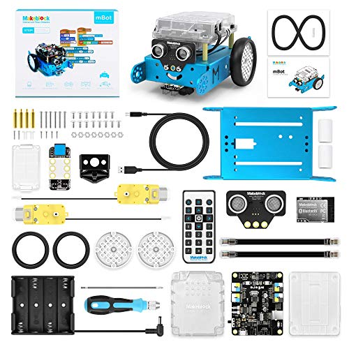 Makeblock mBot Robot Kit, DIY Mechanical Building Blocks, Entry-level Programming Helps Improve Children' s Logical Thinking and Creativity Skills, STEM Education. (Blue, Bluetooth Version, Family) by Makeblock (Image #1)