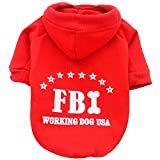 american bulldog puppies for sale - WEUIE Clearance Sale! Puppy Clothes Cute Pet Dog Cat Solid Color FBI Hoodie Clothing Small Puppy Costume (M, Red)