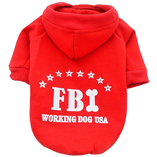 WEUIE Clearance Sale! Puppy Clothes Cute Pet Dog Cat Solid Color FBI Hoodie Clothing Small Puppy Costume (S, (Pug In A Batman Costume)