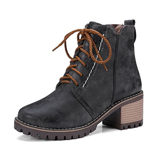Platform BalaMasa Womens Urethane Boots Black Resistant Slip ABL10394 Retro 1PxOqxR7w