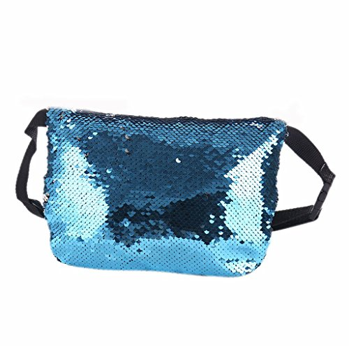 Belt JAGENIE Travel Blue Reversible Hip Women Sport Pack Sequins Fanny Black Bag Waist Pouch Purse aXR8aq6