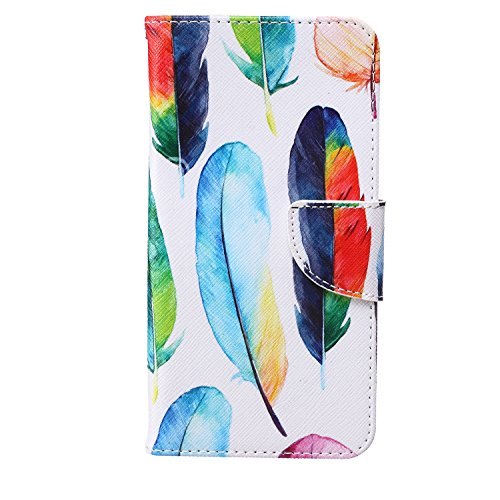 S6 Edge Plus Case, CasesHome Smasung S6 Edge Plus Wallet Case, Luxury PU Leather Case Flip Magnetic Cover Built-in Card Slots & Stand For Samsung Galaxy S6 Edge+ (Colorful Feathers)