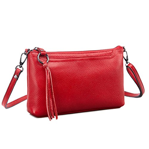Shoulder Wallet Zipper Phone Bag Clutch Red Artwell Small Leather Bag Genuine Crossbody Tassel Women Purse PPIRz70