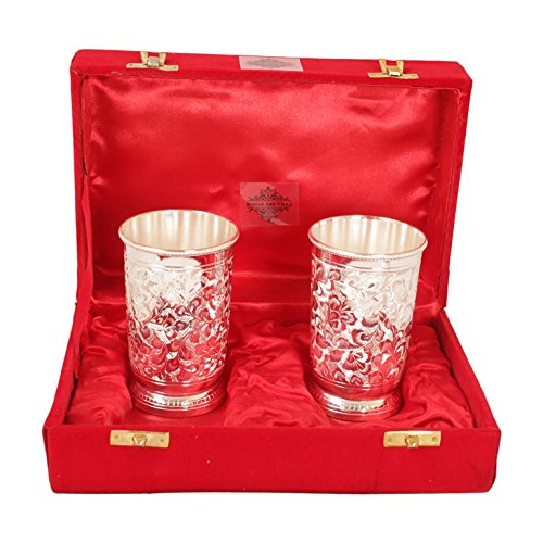 IndianArtVilla Handmade Set Of 2 Silver Plated Designer Glass Goblet Tumbler ...